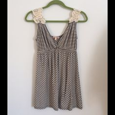 Festival Top Blue Cream Stripe with Lace Shoulder Fun, sexy mad comfy. Why am I selling  this?.. Emma's Closet Tops Tank Tops