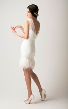 Love Found True Dress / Short Wedding Dress/ Ostrich Feather Dress