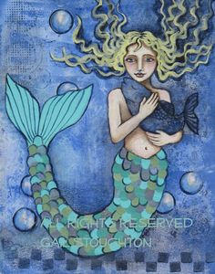Mixed-media mermaid piece created by Gail Stoughton using acrylics & paint chip samples.