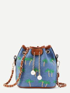 Palm Tree Embroidery Bucket Bag With Faux Pearl