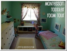 montessori toddler room tour ... particularly shows how they secured pictures and mirror to the walls so they can't fall on a child: