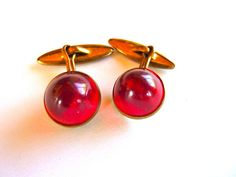 Vintage Pr of Ruby Red Domed Cabochon Cuff Links