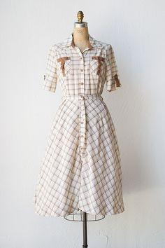 vintage 1950s Western inspired plaid dress   Weekend Saloon Dress