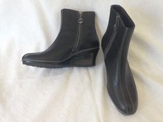 Timberland Ladies Soft Leather Contrast Stitch Sleek Wedge Heels Ankle Boots 8M #Timberland #FashionAnkle