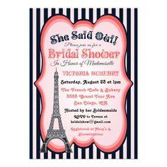 555461fa71ae Paris theme Bridal Shower Invitations. Cute and pretty Bridal Shower  Invitations with a Parisian Flair