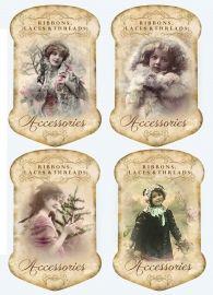 Sheet kantkaarten winter | ~Kant- en button kaartjes | Nostalgie & Brocante