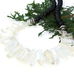 The quartz spikes were coated with an aurora borealis finish so that rainbow colors show up and shift as the angle of the light shifts. The Ultimate Gift, Rainbow Quartz, Black Agate, Aurora Borealis, Spikes, Statement Jewelry, Handmade Necklaces, Color Show, Rainbow Colors