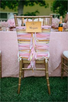Wedding Chair Swag Decorations - A DIY ribbon chair decoration idea using strips of ribbon that are pulled and knotted at the back of the chair. Kept long enough to create a lovely long tail of textured ribbons, this wedding chair swag is awesome! Wedding Chair Decorations, Wedding Chairs, Wedding Seating, Wedding Reception, On Your Wedding Day, Diy Wedding, Rustic Wedding, Wedding Dress, Wedding Blog