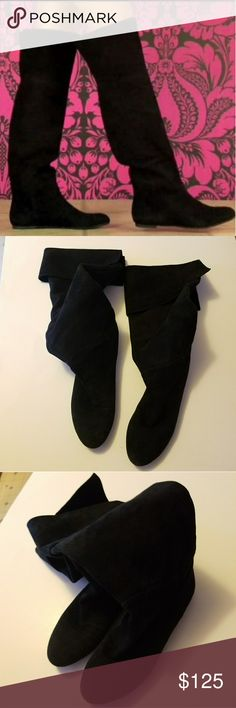Black Suede Boots By Sam Edelman  Over the Knee fold over black leather suede boots  Great condition Sam Edelman Shoes Over the Knee Boots
