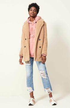 Main Image - kensie Teddy Bear Notch Collar Faux Fur Coat