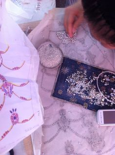 Hand beading on the Catherine Deane  Tallulah gown #bridal #weddingdress #CatherineDeane