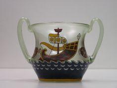 c.1900's Bohemian Signed Fritz Heckert Iridescent Art Glass Hand-painted Vase NR