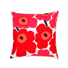 Pieni Unikko cushion by Marimekko. This stunning cushion features the iconic Marimekko poppy print in a bright, bold red and pink colour. Match with other striking cushions for a stylish look in the living room or in the bedroom. Modern Throw Pillows, Decorative Pillows, Accent Pillows, Toss Pillows, Red And Pink, Red And White, Pink White, Cushion Covers, Pillow Covers
