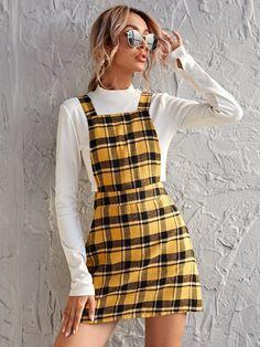 Yellow Skirt Outfits, Yellow Plaid Skirt, Yellow Clothes, Preppy Dresses, Plaid Outfits, Preppy Outfits, Fashion Outfits, Yellow Flannel, Flannel Dress
