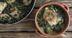Chicken fricasee by Greek chef Akis Petretzikis. A wonderful, soothing, aromatic dish made with chicken, spinach and fresh herbs in a delicious egg lemon sauce! Greek Recipes, Raw Food Recipes, Meat Recipes, Foods That Contain Gluten, Chicken Fricassee, Turkey Chicken, Nutrition Chart, Dairy Free Diet, Low Sodium Recipes