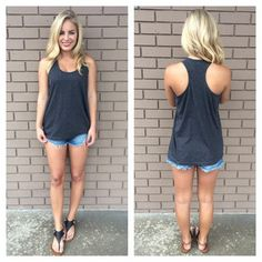 Charcoal Grey T-Back Cotton Tank
