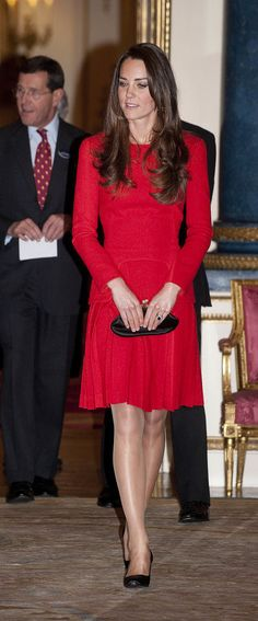 Kate Middleton in a Red Pleated Alexander McQueen Dress