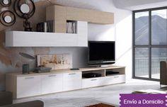 575€ Composición modular de salón de 280 cm. combinado en blanco-roble Deskontalia Planes Gipuzkoa - Descuentos en Gipuzkoa del 70%. Ofertas en Gipuzkoa.