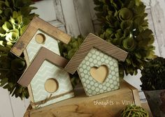 wooden Bird House Set