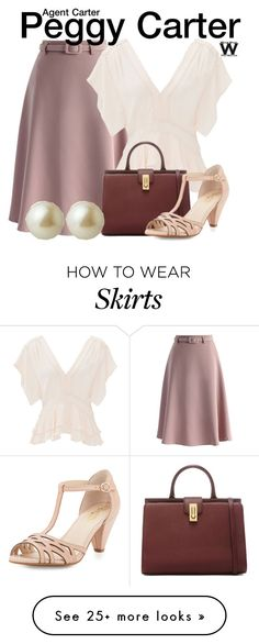 """Agent Carter"" by wearwhatyouwatch on Polyvore featuring Chicwish, Rebecca Taylor, Seychelles, Carolee, television and wearwhatyouwatch"