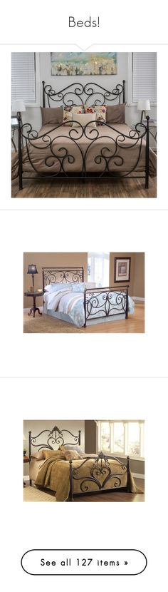 """Beds!"" by thesassystewart on Polyvore featuring home, furniture, beds, brown, king size metal bed, colored furniture, metal furniture, metal king beds, christopher knight home furniture and king size headboards"