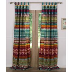 The colorful tribal pattern on this Greenland Home Fashions Southwest Window Panel Pair works with the Southwest Bedroom Collection or your own boho. Southwest Bedroom, Southwest Decor, Southwest Style, Southwestern Curtains, Boho Curtains, Colorful Curtains, Vintage Curtains, Striped Curtains, Boho Bedding