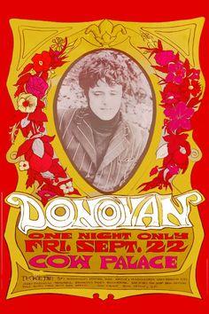 Vintage Donovan concert poster. - Hippie, classic rock.