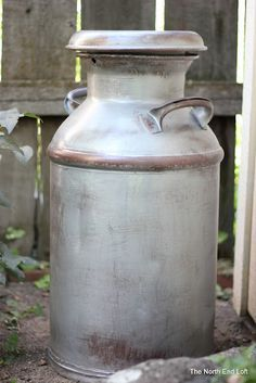 to refinish: Old Painted Milk Can