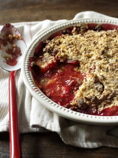 Amaretti biscuits add an Italian touch to the good old English crumble