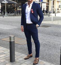 Blue suit men - 2019 Royal Blue Men Suits Slim Fit 2 Piece Blazer Tailor Made Notched Lapel Groom Prom Party Tuxedo (Jacket Pants Tie) Mens Formal Wear Styles, Formal Men Outfit, Men Formal, Mens Fashion Suits, Mens Suits, Fashion Menswear, Costumes Slim, Blazer Bleu, Blazer Outfits Men
