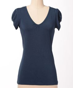 Take a look at this Navy Favorite V-Neck Tee by Down East Basics on #zulily today!