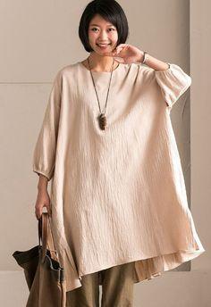 Rice  Korean Style Cotton Linen Falbala Bat Sleeve Round Neck Loose Women Clothes Q8300B