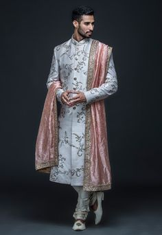 Ivory zari embroidered sherwani set by Gujralsons Sherwani For Men Wedding, Wedding Dresses Men Indian, Sherwani Groom, Couple Wedding Dress, Wedding Outfits For Groom, Bridal Outfits, Wedding Groom, Indian Men Fashion, Indian Fashion Dresses