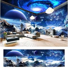 Amazing Surface of Moon Scenery Pattern Design Waterproof Combined 3D Ceiling and Wall Murals - beddinginn.com 3d Wallpaper For Walls, Floor Wallpaper, Wallpaper Ceiling, Ceiling Murals, Floor Murals, Farmhouse Style Kitchen, Modern Farmhouse Kitchens, Kitchen Modern, Galaxy Room