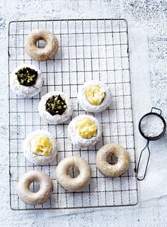 As much as I love fried doughnuts, this baked version is super quick to make and, as they don't contain yeast, are best eaten within a few of hours of baking. See below for notes on finishing and variations on toppings. Donut Recipes, Baking Recipes, Baked Doughnuts, Food Displays, Bread Cake, Lunch Snacks, How Sweet Eats, Sweet Tooth, Yummy Food