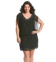 S.L. Fashions Plus Size Beaded Blouson Dress