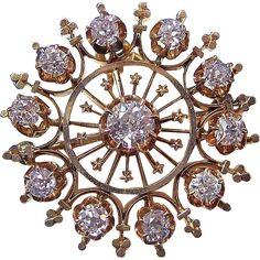 Glorious 1.55 Diamond Victorian Wedding Brooch/Pendant 14K Vintage Antique Wedding Fashions and accessories at www.rubylane.com @rubylanecom