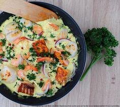 Poêlée de Saint-Jacques, crevettes et saumon