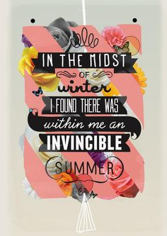 The Invincible Summer by Kavan And Co motivationmonday print inspirational black white poster motivational quote inspiring gratitude word art bedroom beauty happiness success motivate inspire
