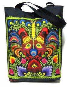 Barwna folkowa torba z kogutami