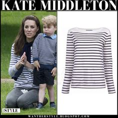 Kate Middleton in white and blue Tori top by Ralph Lauren