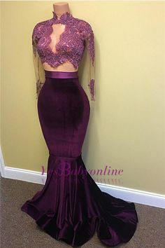 2017 Two-Piece Prom Dresses Grape High Neck Long Sleeves Mermaid Evening Gowns_Wholesale Wedding Dresses, Lace Prom Dresses, Long Formal Dresses, Affordable Prom Dresses - High Quality Wedding Dresses - Yesbabyonline.com