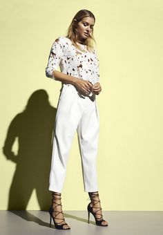Lace top and white trousers for a fresh summer look    Gina Tricot Collections   www.ginatricot.com   #ginatricot
