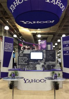 Adtech New York 2011 Yahoo! rental booth by Blazer Exhibits & Events. Trade Show Design, Wall Of Fame, Hanging Signs, Booth Design, Exhibition Stands, Exhibit Design, Events, Blazer, Gallery