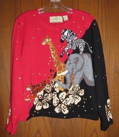 Design Options Red & Black Multi Zoo Safari Animals Embellished Cardigan M #DesignOptions #Cardigan