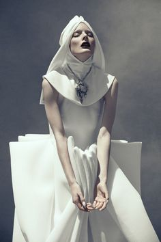 Wearable Art - structured dress with strong sculptural lines & 3D shapes - innocence & strength; bold simplicity: