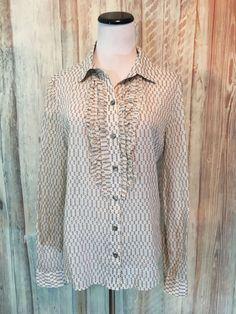 Proenza Schouler Target Blouse Shirt Ruffle White Gray Dot CottonRare sz L EUC! #ProenzaSchouler #Blouse