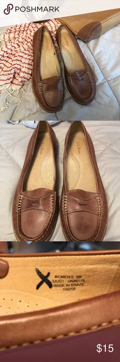 LLBEAN  LEATHER COGNAC LOAFER SIZE 9 worn twice Absolutely gorgeous, these penny loafers will always be in style, Beautiful leather inside  and out with leather sole and rubber heel pad LL BEAN Shoes Flats & Loafers