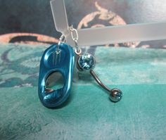 Light Blue Monster Tab  Belly Button Ring by joolrylane on Etsy, $25.00