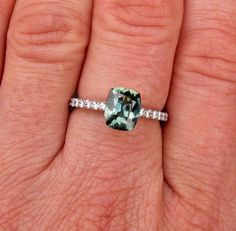 Blue Green Sapphire Engagement Ring or Wedding by PristineJewelry, $1490.00